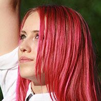 Woman with red hair color